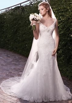 Mermaid styled gown with beaded lace bodice and scallop trim I Style 2135: Casablanca Bridal I https://www.theknot.com/fashion/2135-casablanca-bridal-wedding-dress?utm_source=pinterest.com&utm_medium=social&utm_content=june2016&utm_campaign=beauty-fashion&utm_simplereach=?sr_share=pinterest