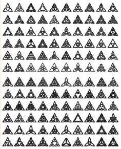 Variations of the triangle design -- you see among them, triquetra, unholy trinity, pyramids, and more familiar symbolism. These are called Celtic Knot Triangle designs. Source: http://www.clanbadge.com/triangle_order.htm