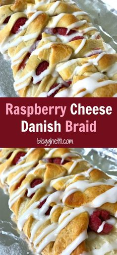 This Raspberry Cheese Danish Braid is so easy to make and it starts with a can of crescent dough. The danish is filled with cream cheese and fresh raspberries Cream Cheese Bread, Cream Cheese Danish, Cream Cheese Desserts, Cheese Fruit, Cream Cheese Recipes, Cheese Pastry, Cheese Cakes, Crescent Dough Sheet Recipes, Pilsbury Crescent Recipes