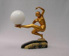 Signed Van De Voorde Wonderful 1930 art deco lamp. Gold finish on metal. Marble basis.