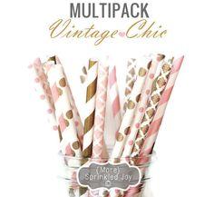 PINK & GOLD Paper Straws, Multipack, Pink, Blush, Gold, Light Pink, Wedding, Damask, Dots, Vintage Chic, 25 Straws, Stripes, Shower, Party