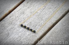 Minimalist Black and Gold Beaded Bar Delicate Gold Chain Short Necklace