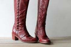 Awesome vintage size 7.5 tall leather boots / women's boots / oxblood / maroon / retro urban style boots / red brown / classic boot design