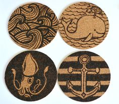Nautical Themed Cork Coasters