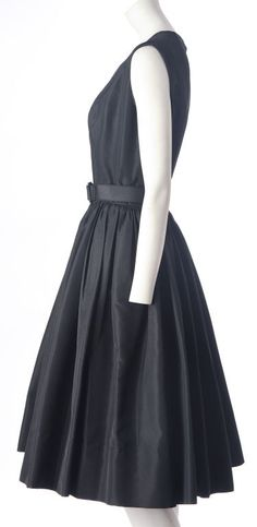 1stdibs | Norell 1950s-- silk faille day dress-- note the POCKETS