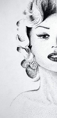 Baleigh Bennett, a junior at Craig High School in Janesville, created this pen and ink portrait of Marilyn Monroe using a stipling technique and text.