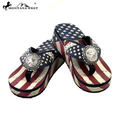 These flip flops have: - Amercian flag print strap decorated with rhinestones - Lonestar concho with rhinestones - White stars on the blue background, red and white stripes on the top of the sole - We