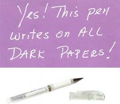 Uni-ball Signo Gel Impact gel ink pen is the elusive opaque gel pen designed to write on  dark paper.