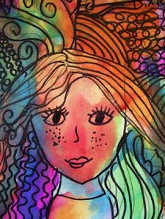 DREAM DRAW CREATE - love this application of pentangle-type drawing on a portrait drawing! Art Journal Pages, Wet On Wet Painting, Square 1 Art, Dream Drawing, 2nd Grade Art, Grade 3, Ecole Art, Portrait Art, Portraits