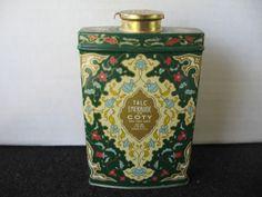 "Vintage ""Emeraude"" by Coty perfumed talc powder tin | eBay"