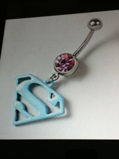cute superman belly button ring