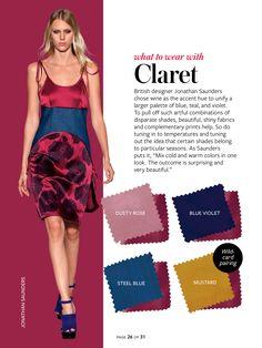 claret + dusty rose/blue violet/steel blue/mustard