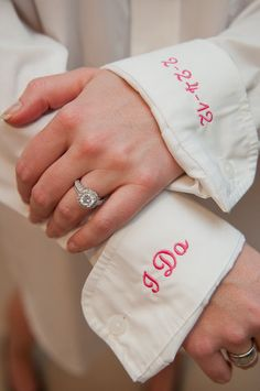Monogrammed Oversized Shirt for Bride with I Do and wedding date. Great idea so you makeup and hair won't get messed up!