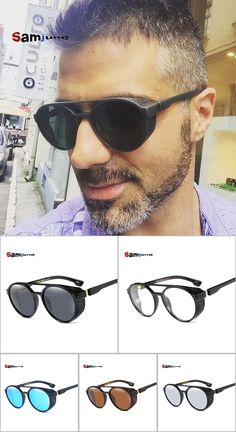 13c893faf7b8b Samjune Steampunk Sunglasses Women Men Retro Goggles Round Flip Up Glasses  steam punk Vintage Fashion Eyewear