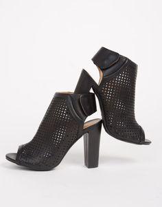 $28  Perforated Peep Toe Mule Heels