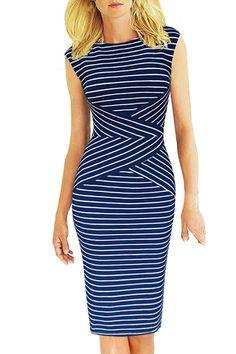 Jewel Neck Stripes Sleeveless Dress