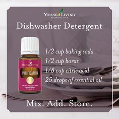 DIY dishwasher detergent has never been easier! Mix together, add two tablespoons to the dishwasher per load, and store extra in a glass container.