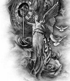 Angel Tattoo Designs, Tattoo Sleeve Designs, Badass Tattoos, Body Art Tattoos, Tattoo For Son, Back Tattoo, Half Sleeve Tattoos Forearm, Religious Tattoos For Men, Archangel Michael Tattoo