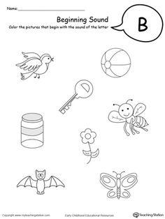 Free preschool phonics worksheet on beginning sounds for