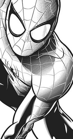 B and W Spiderman