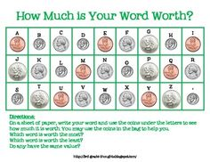 This is a great activity to combine math and word work! I use this as part of my Daily 5 Word Work- I pair this sheet with a baggie of play coi...