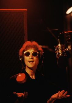 """John in the Hit Factory, where he and Yoko recorded Double Fantasy.  """"When I see the pictures, that music still plays in my mind,"""" Shinomaya says."""