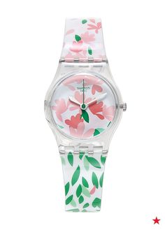 A Jackaranda watch by Swatch.   Multicolor print silicone strap   Round case…