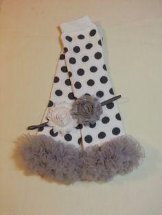 Polka Dot Leg Warmers Headband Set / White by PrincessEllasBoutiqu, $11.50