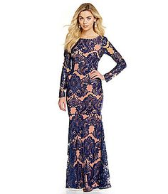 JS Collections Sequin Lace Long Sleeve Mermaid Gown #Dillards