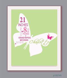 Baby girl - birth details - art for nursery $30