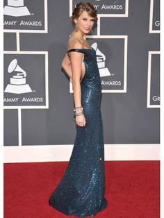 Taylor Swift - Blue Kaufman Franco Gown (via Cosmopolitan.com)