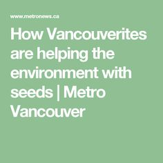 How Vancouverites are helping the environment with seeds    Metro Vancouver