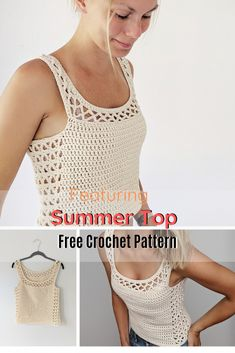 The Perfect Crocheted Summer Top - Knit And Crochet Daily - Crochet Top Patterns Débardeurs Au Crochet, Gilet Crochet, Mode Crochet, Crochet Woman, Easy Crochet, Crochet Granny, Crochet Tank Tops, Crochet Summer Tops, Crochet Cardigan