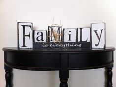 Family is everything Home Wood Block Set Unique Decor Gift Personalize Seasonal Wedding Birthday via Etsy