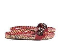 Addie, crystal studded slide in red python | Pedro Garcia shoes Spring Summer 2014-2015