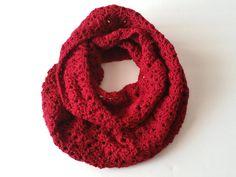 Burgundy Crochet Cowl - Crochet Cowl Scarf - Cowl Infinity Scarf - Infinity Scarf - Winter Cowl - Cowl Scarf - Red Neck Warmer - Women Cowl by SillyLittleBlackCat on Etsy