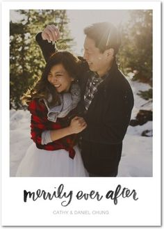 And they lived merrily ever after! Share your news with newlywed holiday cards.