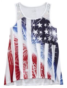 Embellished shoulder flowy tank girls tops clothes shop just Justice Clothing, Justice Shirts, Tween Fashion, Girl Fashion, Hot Outfits, Girl Outfits, Shop Justice, Best Swimwear, 4th Of July Outfits