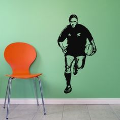 rugby players wall art sticker boys sport bedroom transfer rugby player wall art sticker kicking player outline