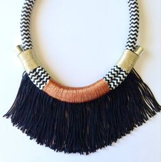 Ayodele Neckpiece  Black Copper Gold Chevron Fringed by HoopoeHome