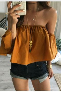 Fashion Ladies Summer Spring 2018 Yellow Blouse Women Off Shoulder Top Casual Shirt Elegant Slim Ruffles Bodycon Blouses New Outfits, Summer Outfits, Casual Outfits, Cute Outfits, Fashion Outfits, Womens Fashion, Fashion Tips, Fashion Design, Fashion Trends
