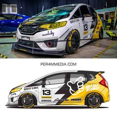 Latest project - Honda Jazz from Malaysia and my one of the most popular kanjo style livery design I ever made⚡️⚡️⚡️car owner: Honda Fit, Honda Jazz Modified, Car Folie, Corsa Wind, Vehicle Signage, Racing Car Design, Honda Cars, Car Advertising, Japanese Cars