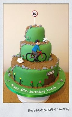 bicycle cakes | Westie Dogs and Bicycle 60th birthday cake Cake by lucycoogancakes