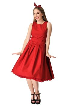 e44726f302cb02 Lola Stylish 50's Retro Swing Dress With Pockets in Burgundy