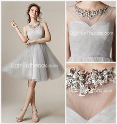 retour au genou robe de tulle de demoiselle d'honneur - un argent en ligne / princesse joyau