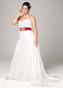 Simple yet stunning, this taffeta gown is a timeless classic, perfect for the modern princess bride. Sweetheart neckline is feminine and romantic. Taffeta fabric shapes an elegant and flattering A-line silhouette. Fully lined. Back zip. Dry clean only. Soft White also available in stoes. White available for Special Order in stores. Sweep train. Coordinates with heavily beaded sash G21600 Also available in Missy sizes 0-16, Style WG3243, Add a splash of color with one our sashes ...