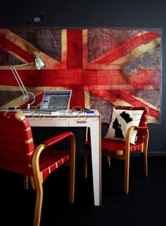 Union Jack wallpaper by Vivienne Westwood behind Linchpin Table Original Chair 45 by Alvar Aalto Rec
