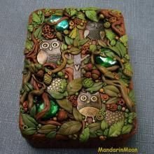 Owl mint tin.                   ClayLessons.com | Learn & Share: Get FREE Polymer Clay Tutorials and much more!