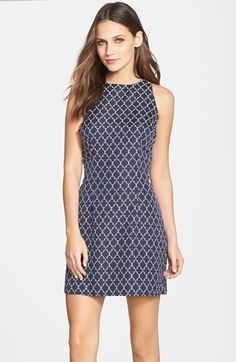 BB Dakota 'Manix' Back Cutout Jacquard Sheath Dress available at #Nordstrom how do we feel about patterns?