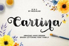 Introducing Cartina 8 in 1 script No special software - You do not need a special design program. The font will work in ANY text editor --- It's a sweet hand Brush Font, Brush Lettering, Hand Lettering, Lettering Design, Handwritten Script Font, Typography Fonts, Cursive Calligraphy, Font Maker, Create Font